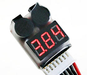 2 in 1 Lipo Battery Voltage Tester Buzzer Alarm 1-8S